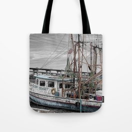 Fishing Boat in Harbor Tote Bag