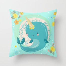 Pretty Princess Narwhal Throw Pillow
