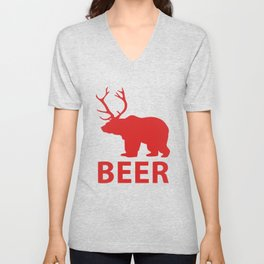 DEER & BEAR = BEER Unisex V-Neck
