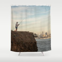 Fishing in San Francisco Photography, Sunset in SF, Sausalito view of San Francisco Shower Curtain