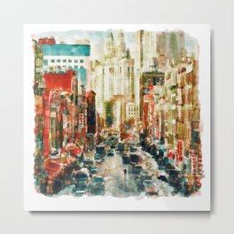 Winter in Chinatown - New York Metal Print