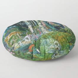 Wilderness Landscape, Wild Foxglove Flowers, White Birch, Stream & Cattle by Nikolai Astrup Floor Pillow