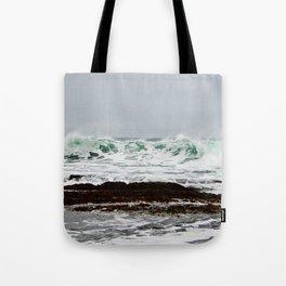 Green Wave Breaking Tote Bag