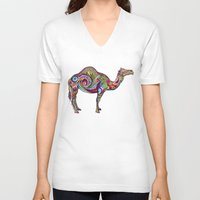 camel V-neck T-shirts featuring Camel by Green Girl Canvas