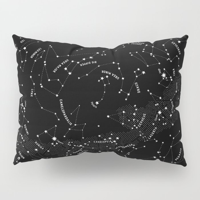 Constellation Map - Black Pillow Sham
