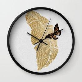 Butterfly & Palm Leaf, Gold Wall Art Wall Clock