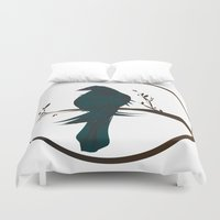 crow Duvet Covers featuring crow by voskovski