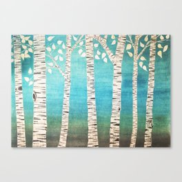 Turquoise birch forest Canvas Print