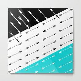 Turquoise black white pattern Boom 2 . Metal Print