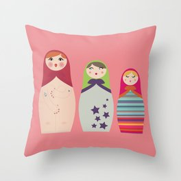 Russians Dolls whoops !  Throw Pillow