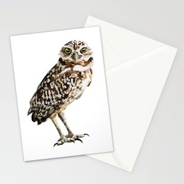Low Poly  Burrowing Owl Stationery Cards