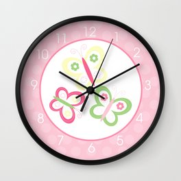 Butterfly Clock Pink, Green, Yellow Vibrant Wall Clock