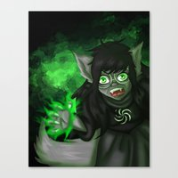 homestuck Canvas Prints featuring Homestuck: Grimbark Jade by EternalAshley225