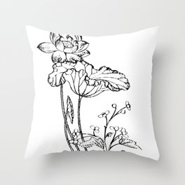 Chinese Ink Brush Painting Floral Chinoiserie Art Throw Pillow