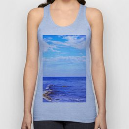 blue ocean view with blue cloudy sky in summer Unisex Tank Top