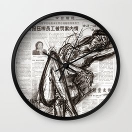 Brave - Charcoal on Newspaper Figure Drawing Wall Clock