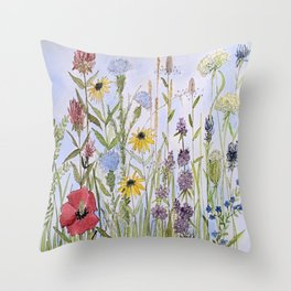 Wildflower Garden Watercolor Flower Illustration Throw Pillow