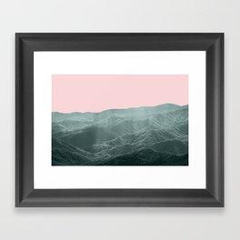 Mountains Pink + Green Framed Art Print