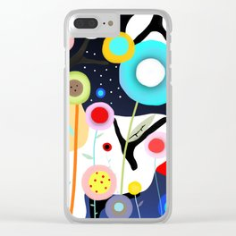 Night Meadow Black Branches Happy Circles Clear iPhone Case