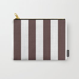 Dark Brown Granite and White Wide Vertical Cabana Tent Stripe Carry-All Pouch