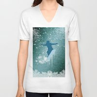 snowboarding V-neck T-shirts featuring Snowboarding by nicky2342