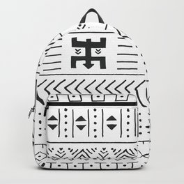 Black and white tribal ethnic pattern with geometric elements, traditional African mud cloth, tribal Backpack