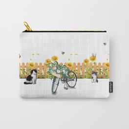 Cats Summer Garden Bike Butterflies Carry-All Pouch