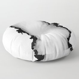 White Gray and Black Monochrome Graphic Cloud Effect Floor Pillow