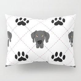 Black Great Dane Paw Print Pattern Pillow Sham