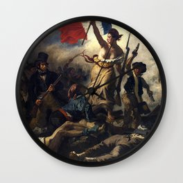 Liberty Leading the People Painting by Eugène Delacroix Wall Clock