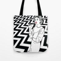twin peaks Tote Bags featuring Twin Peaks by Saul Art