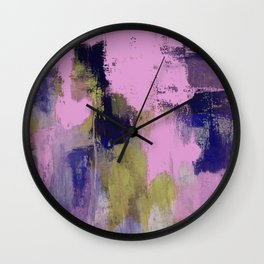 Wild Lilac - Abstract, textured, lilac, purple, blue and yellow oil painted artwork Wall Clock