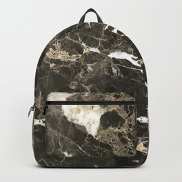 Dark Brown Marble With White Veins Backpack