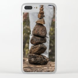 Rock Stacking Woman Clear iPhone Case