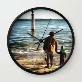 Father and sun looking into future Wall Clock