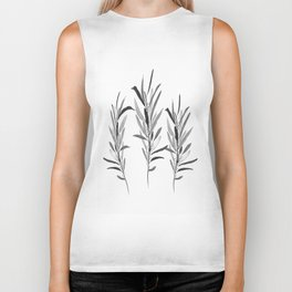 Eucalyptus Branches Black And White Biker Tank