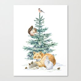 christmas tree in the forest Canvas Print