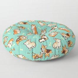Jolly corgis in green Floor Pillow