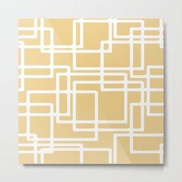 Retro Modern White Rectangles On Camel Metal Print