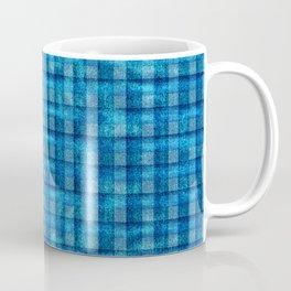 Ocean Blue and Pale Velvety Gingham Plaid Texture Coffee Mug