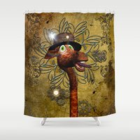 steampunk Shower Curtains featuring Steampunk, giraffe by nicky2342