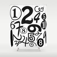 numbers Shower Curtains featuring Numbers by Sweet Colors Gallery