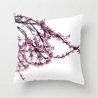 sakura Throw Pillows featuring sakura by MILDA HE