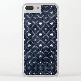 Blue Indigo Pattern Clear iPhone Case