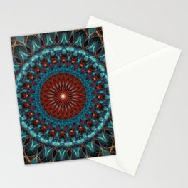 Glowing red and blue mandala Stationery Cards