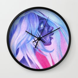 blue hair portrait red wall Wall Clock