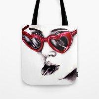 lolita Tote Bags featuring Lolita  by Bella Harris