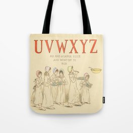 Alphabet - Children in the morning, with letter of Alphabet - Vintage Tote Bag