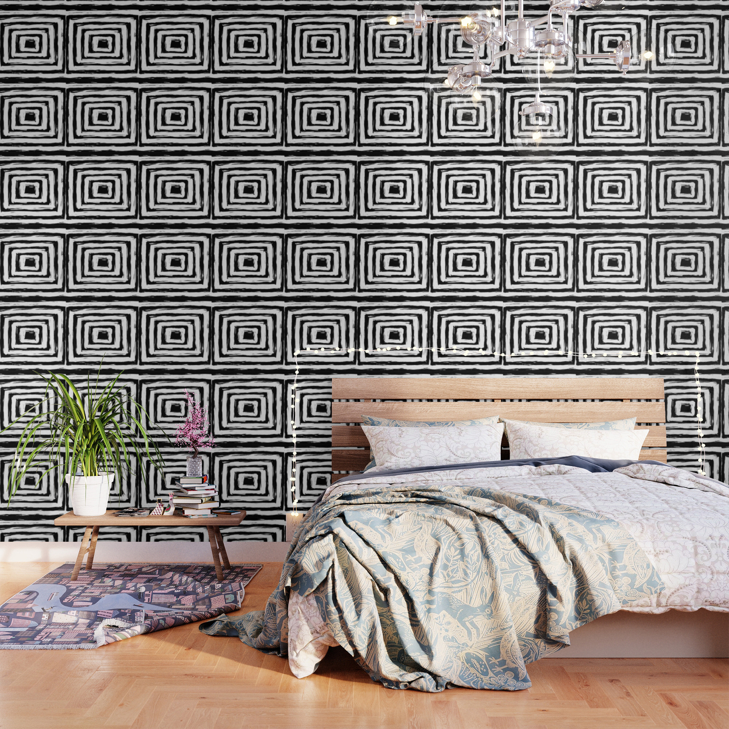 Minimal Black And White Square Rectangle Pattern Wallpaper By