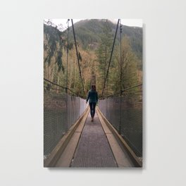suspension bridge through the trees Metal Print